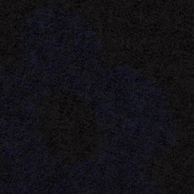 ウール&ナイロン×フラワー(ブラック&ネイビー)×ループジャガードニット_全2色 イメージ1
