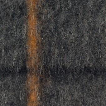 ウール&アクリル混×チェック(チャコールグレー)×シャギーニット