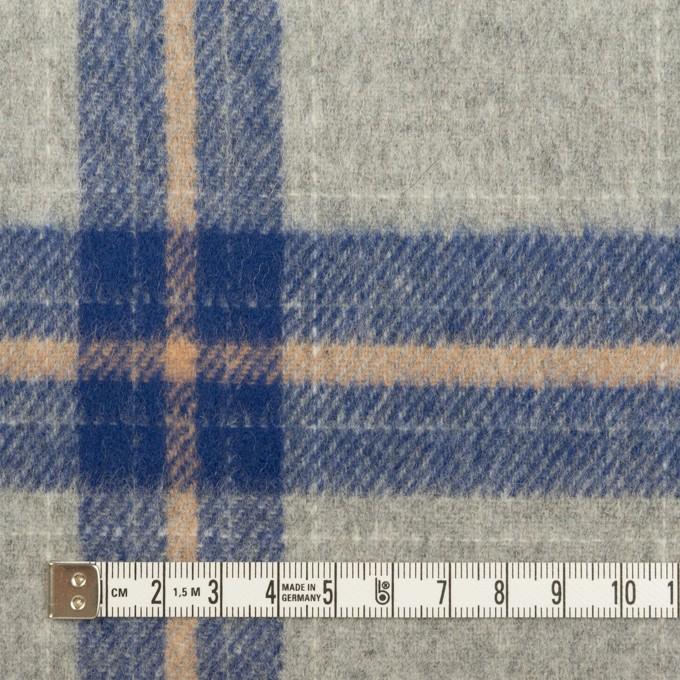 ウール×チェック(グレー&マリンブルー)×フラノ(フランネル) イメージ4