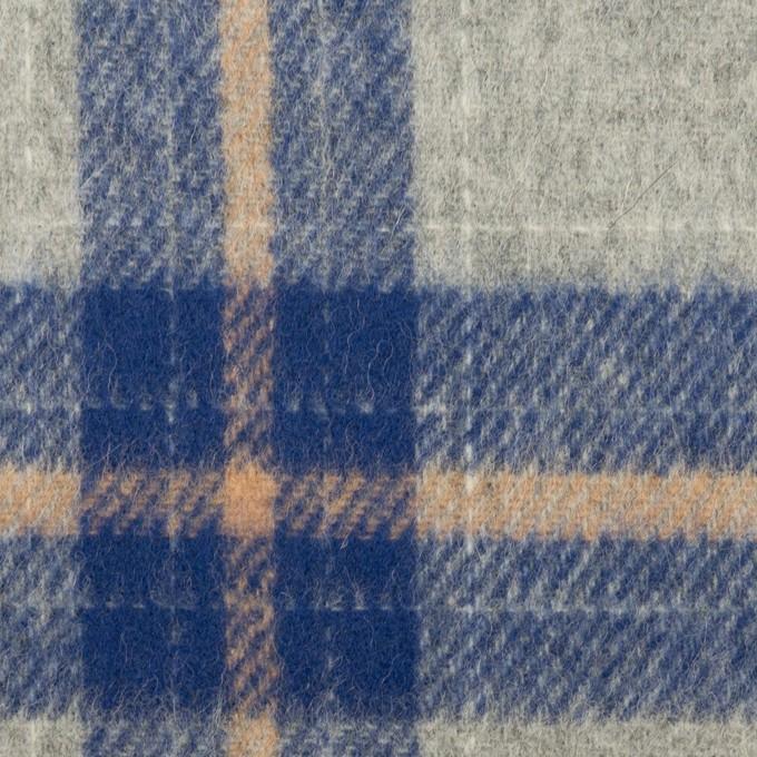 ウール×チェック(グレー&マリンブルー)×フラノ(フランネル) イメージ1