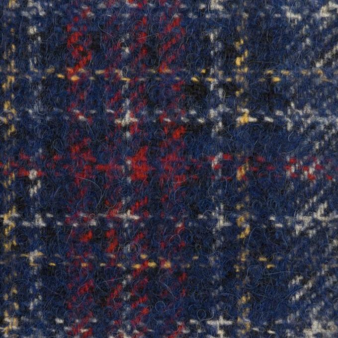 ウール&アクリル混×チェック(マリンブルー、レッド&イエロー)×ファンシーツイード イメージ1