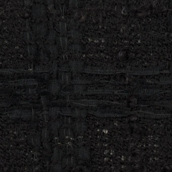 ウール&コットン混×チェック(ブラック)×ファンシーツイード サムネイル1