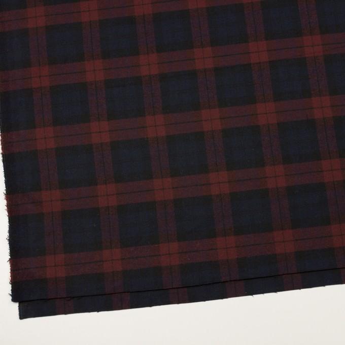 ポリエステル&レーヨン混×チェック(バーガンディー&ネイビー)×サージストレッチ イメージ2