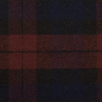 ポリエステル&レーヨン混×チェック(バーガンディー&ネイビー)×サージストレッチ