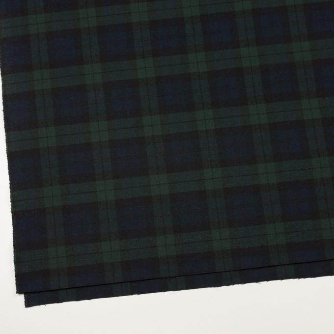 ポリエステル&レーヨン混×チェック(グリーン&ネイビー)×サージストレッチ イメージ2