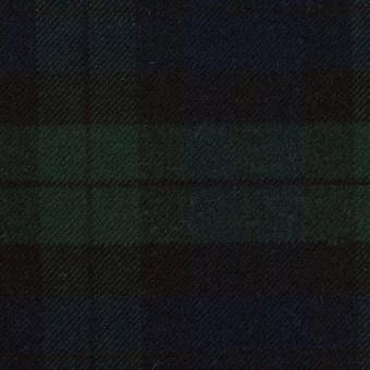 ポリエステル&レーヨン混×チェック(グリーン&ネイビー)×サージストレッチ サムネイル1