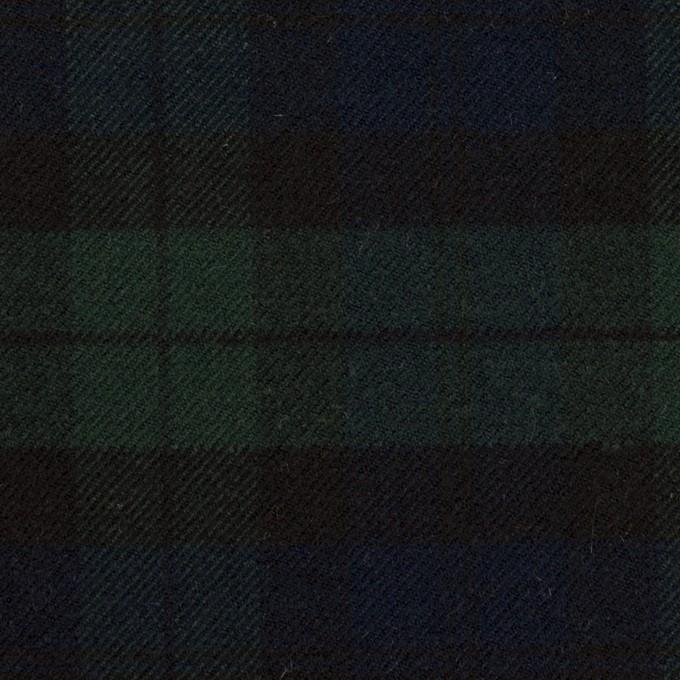 ポリエステル&レーヨン混×チェック(グリーン&ネイビー)×サージストレッチ イメージ1