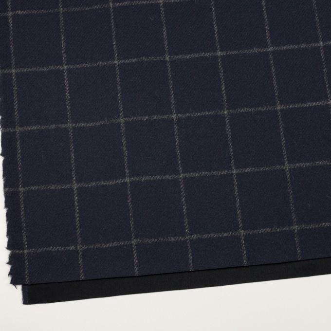 ウール×チェック(ネイビー)×ツイード(裏貼ボンディング) イメージ2