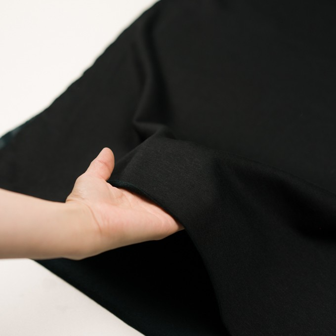 コットン&レーヨン×無地(ブラック)×裏毛ニット(裏面起毛)_全2色 イメージ5