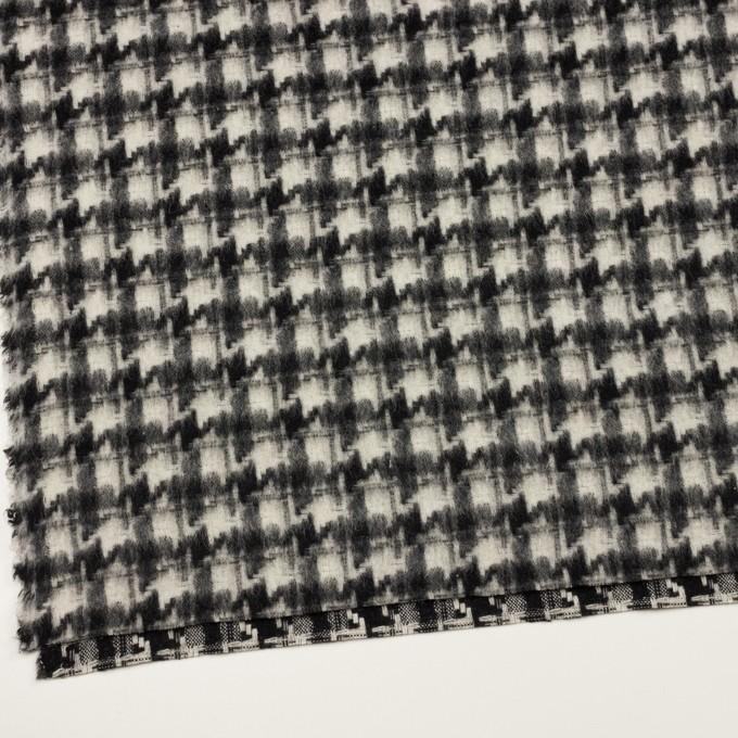 ウール&アクリル混×千鳥格子(アイボリー&ブラック)×かわり織_全3色 イメージ2
