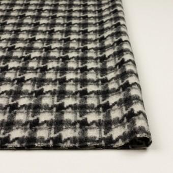 ウール&アクリル混×千鳥格子(アイボリー&ブラック)×かわり織_全3色 サムネイル3