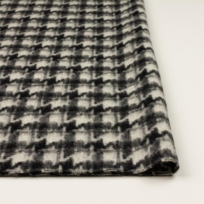 ウール&アクリル混×千鳥格子(アイボリー&ブラック)×かわり織_全3色 イメージ3