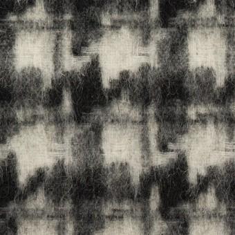 ウール&アクリル混×千鳥格子(アイボリー&ブラック)×かわり織_全3色