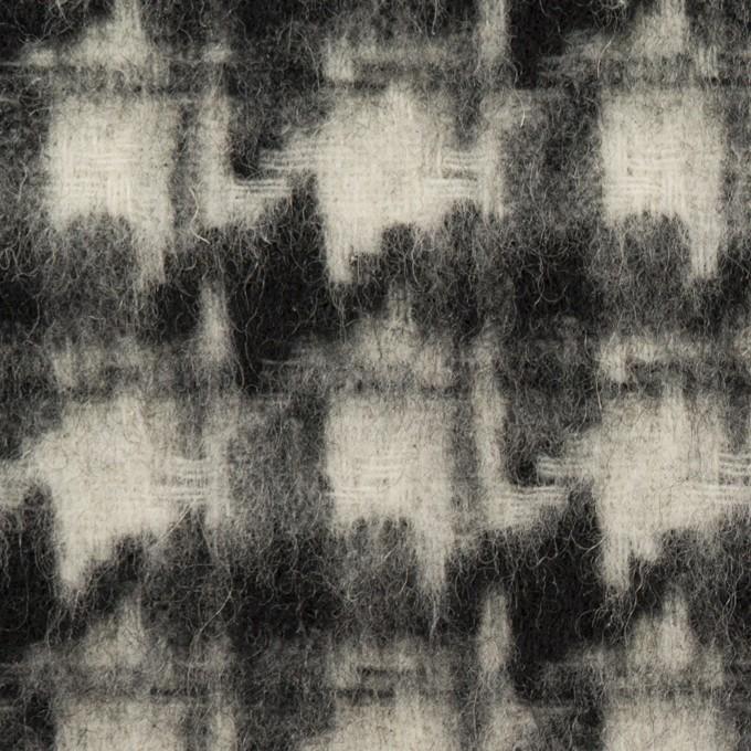 ウール&アクリル混×千鳥格子(アイボリー&ブラック)×かわり織_全3色 イメージ1