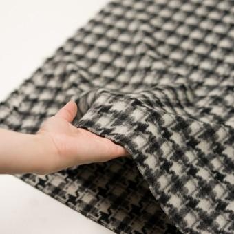 ウール&アクリル混×千鳥格子(アイボリー&ブラック)×かわり織_全3色 サムネイル5