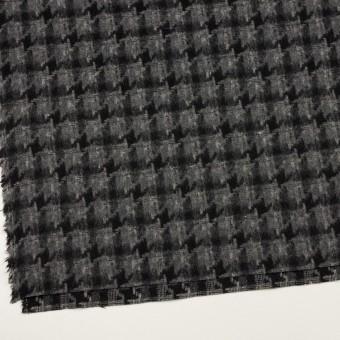 ウール&アクリル混×千鳥格子(チャコールグレー&ブラック)×かわり織_全3色 サムネイル2