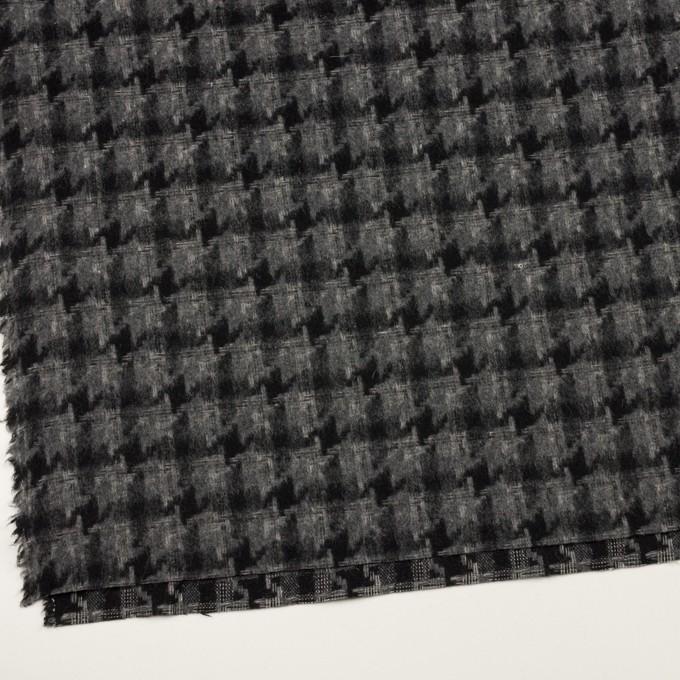 ウール&アクリル混×千鳥格子(チャコールグレー&ブラック)×かわり織_全3色 イメージ2