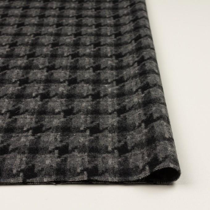 ウール&アクリル混×千鳥格子(チャコールグレー&ブラック)×かわり織_全3色 イメージ3