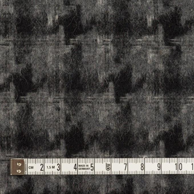 ウール&アクリル混×千鳥格子(チャコールグレー&ブラック)×かわり織_全3色 イメージ4