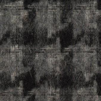 ウール&アクリル混×千鳥格子(チャコールグレー&ブラック)×かわり織_全3色