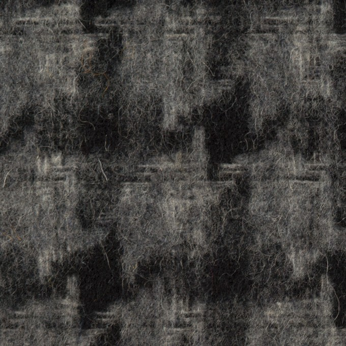 ウール&アクリル混×千鳥格子(チャコールグレー&ブラック)×かわり織_全3色 イメージ1
