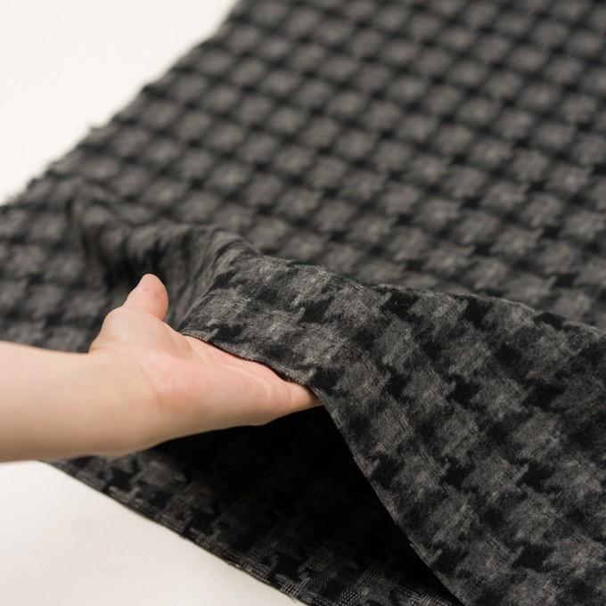 ウール&アクリル混×千鳥格子(チャコールグレー&ブラック)×かわり織_全3色 イメージ5