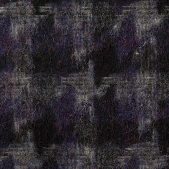 ウール&アクリル混×千鳥格子(バイオレット&ブラック)×かわり織_全3色