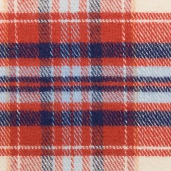 コットン×チェック(レッド、ブルー&サックス)×フランネル