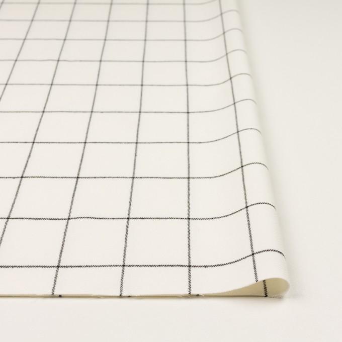 ポリエステル&レーヨン混×チェック(ミルク&ブラック)×サージストレッチ イメージ3