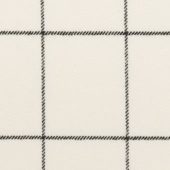 ポリエステル&レーヨン混×チェック(ミルク&ブラック)×サージストレッチ