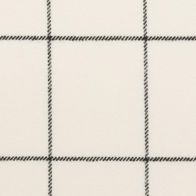 ポリエステル&レーヨン混×チェック(ミルク&ブラック)×サージストレッチ イメージ1