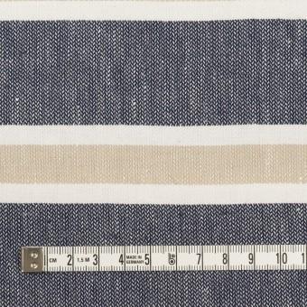 コットン×ボーダー(ネイビー、ベージュ&ホワイト)×ヘリンボーン サムネイル4
