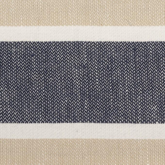 コットン×ボーダー(ネイビー、ベージュ&ホワイト)×ヘリンボーン イメージ1