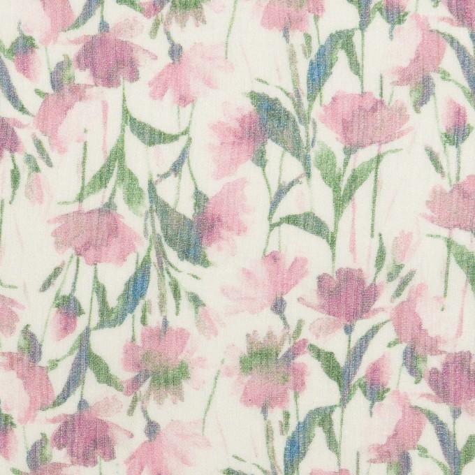 シルク×フラワー(ピンク)×クレープジョーゼット_全2色 イメージ1