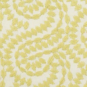 コットン×幾何学模様(イエローマスカット&オフホワイト)×Wガーゼ刺繍_全4色