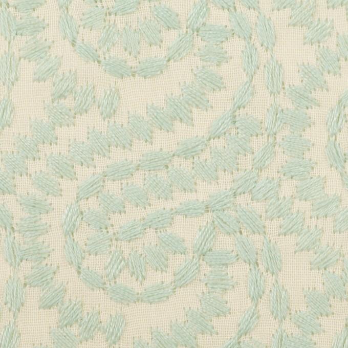 コットン×幾何学模様(シャーベットグリーン&エクリュ)×Wガーゼ刺繍_全4色 イメージ1