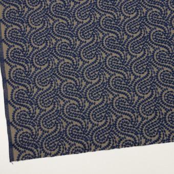 コットン×幾何学模様(ネイビー&カーキ)×Wガーゼ刺繍_全4色 サムネイル2