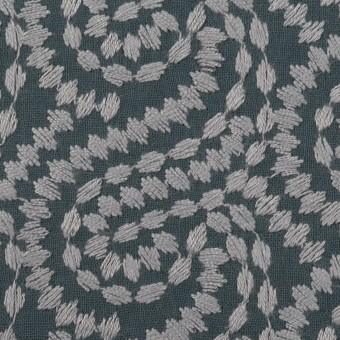 コットン×幾何学模様(グレー&チャコールグレー)×Wガーゼ刺繍_全4色