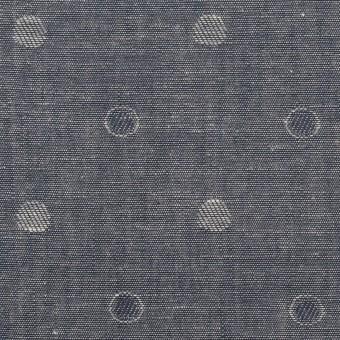 コットン×水玉(インディゴ)×ダンガリー・ジャガード