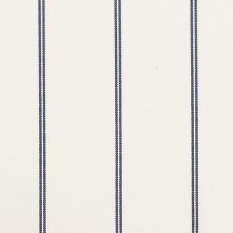 コットン&ポリエステル×ストライプ(ホワイト&ネイビー)×ブロード