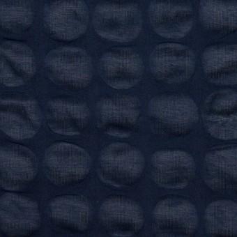 コットン×サークル(ネイビー)×ローン_塩縮加工_全2色