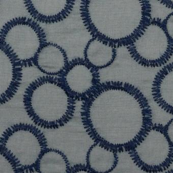 コットン×サークル(ネイビー&スモークグレー)×ローン刺繍_全4色