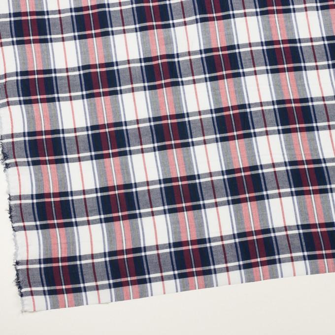 コットン&ポリエステル×チェック(レッド&ネイビー)×薄シーチング イメージ2