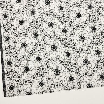 コットン×フラワー(ホワイト&ブラック)×ローン・シャーリング刺繍_全3色 サムネイル2
