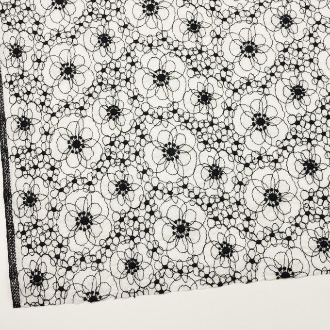 コットン×フラワー(ホワイト&ブラック)×ローン・シャーリング刺繍_全3色 イメージ2