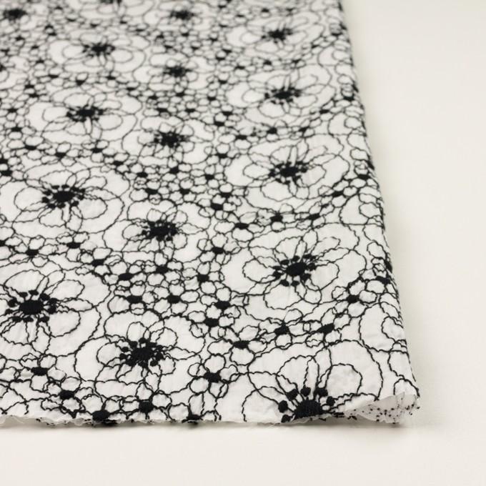 コットン×フラワー(ホワイト&ブラック)×ローン・シャーリング刺繍_全3色 イメージ3