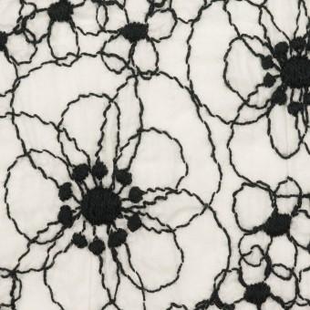 コットン×フラワー(ホワイト&ブラック)×ローン・シャーリング刺繍_全3色