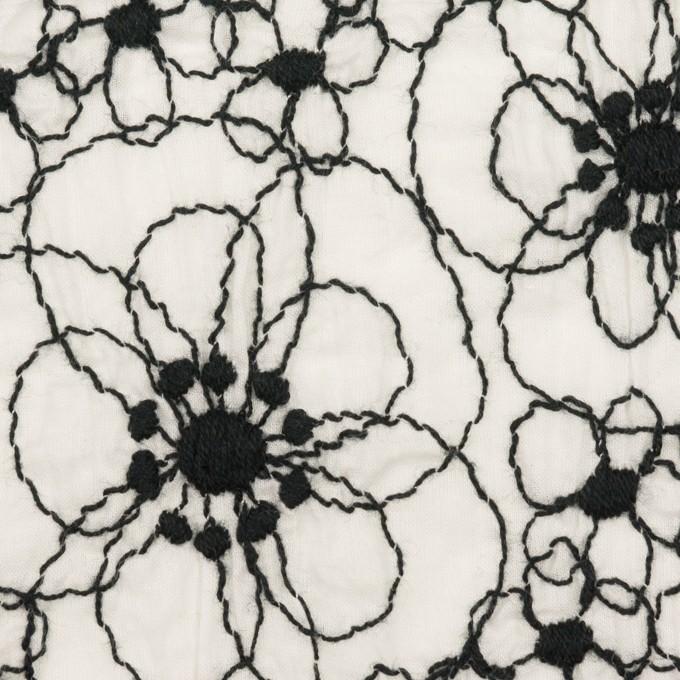 コットン×フラワー(ホワイト&ブラック)×ローン・シャーリング刺繍_全3色 イメージ1