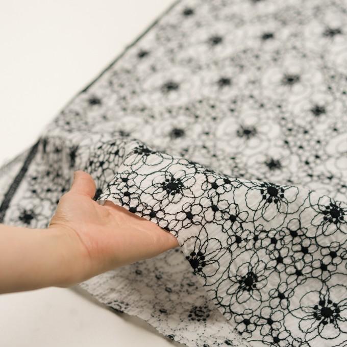 コットン×フラワー(ホワイト&ブラック)×ローン・シャーリング刺繍_全3色 イメージ5