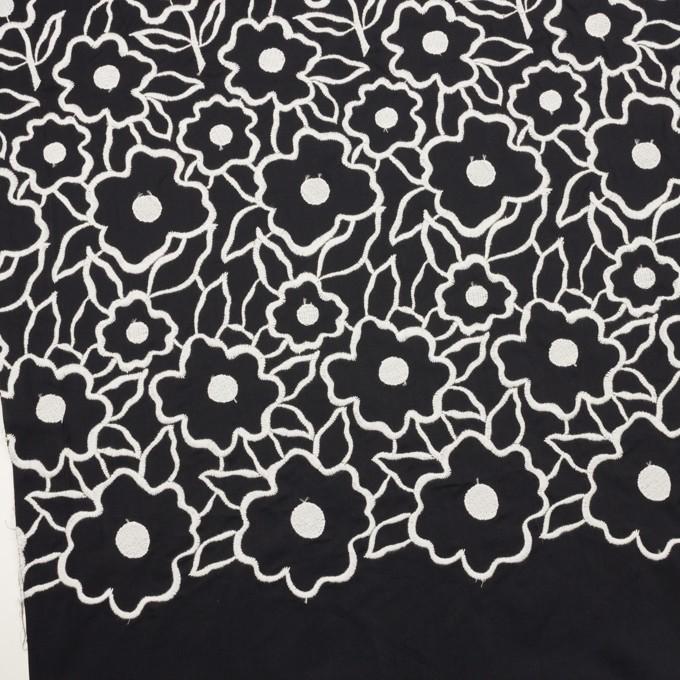 ポリエステル×フラワー(ブラック&ホワイト)×タフタ刺繍 イメージ2